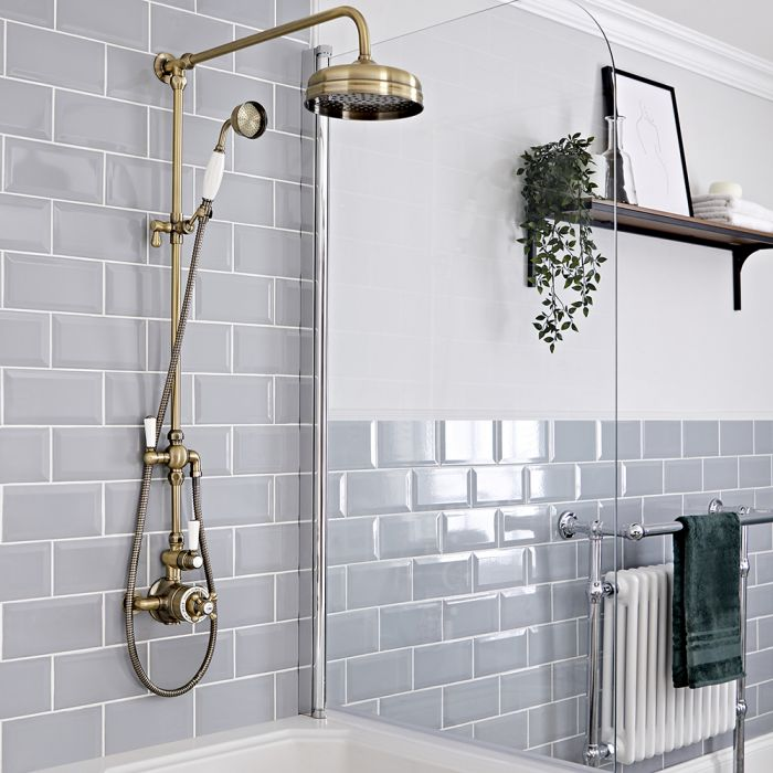 Milano Elizabeth - Brushed Gold Traditional Twin Exposed Thermostatic Shower with Grand Rigid Riser Rail (2 Outlet)