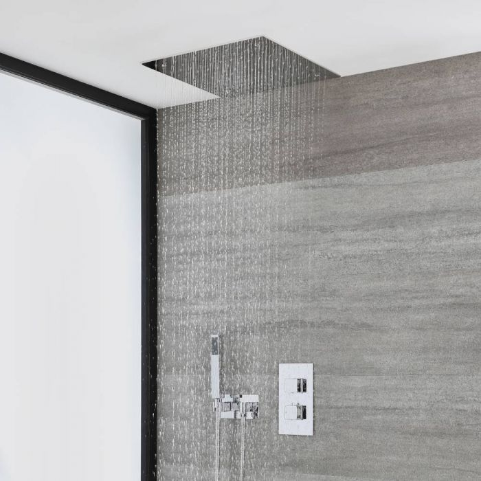 Milano Arvo - Chrome Thermostatic Shower with Diverter, Recessed Shower Head and Hand Shower with Holder (2 Outlet)