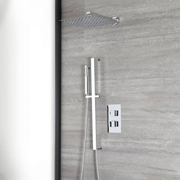 Milano Arvo - Chrome Thermostatic Shower with Diverter, Shower Head, Hand Shower and Riser Rail (2 Outlet)