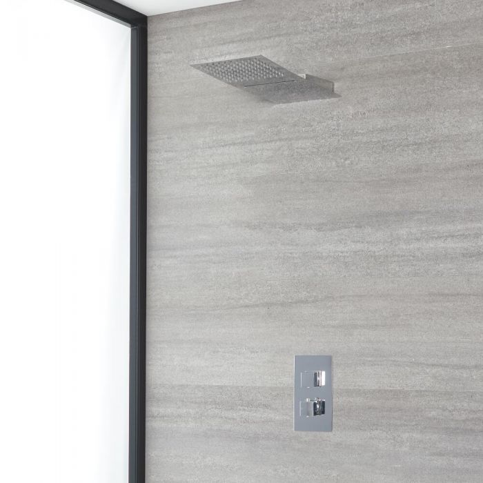 Milano Arvo - Chrome Thermostatic Shower with Diverter and Waterblade Shower Head (2 Outlet)