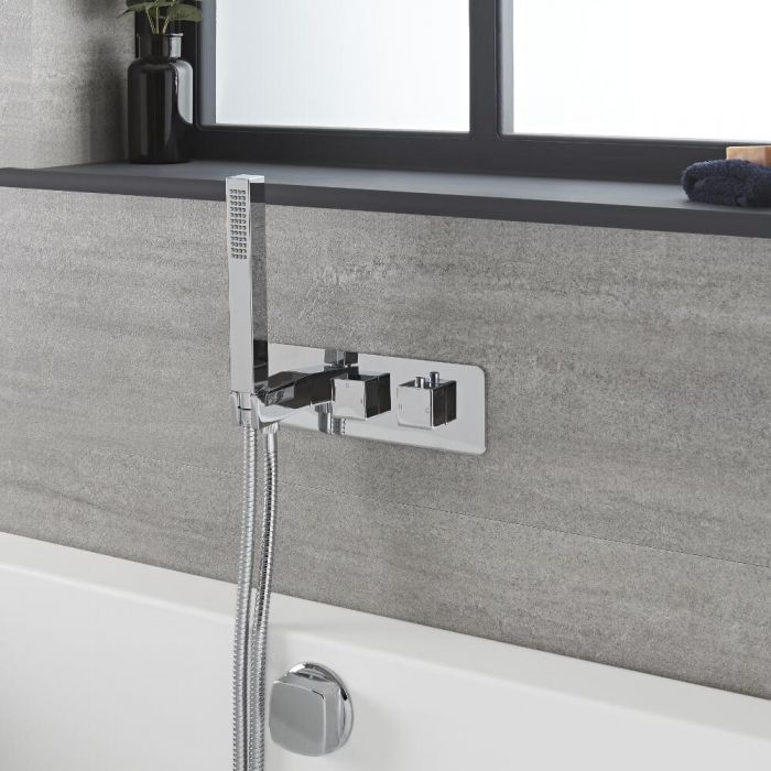 Milano Arvo - Chrome Thermostatic Shower with Diverter, Overflow Bath Filler and Hand Shower (2 Outlet)