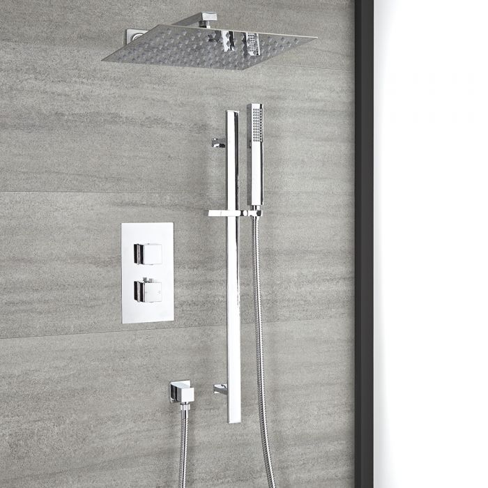 Milano Arvo - Chrome Thermostatic Shower with Diverter, Riser Rail with Hand Shower and Shower Head (2 Outlet)