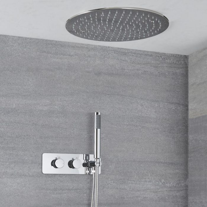 Milano Mirage - Chrome Thermostatic Shower with Diverter, Recessed Shower Head and Hand Shower (2 Outlet)