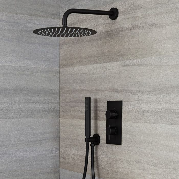 Milano Nero - Black Twin Diverter Concealed Valve with 300mm Round Head and Hand Shower