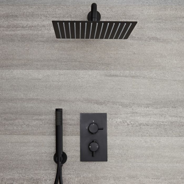 Milano Nero - Black Thermostatic Shower with Diverter, Square Shower Head and Hand Shower (2 Outlet)
