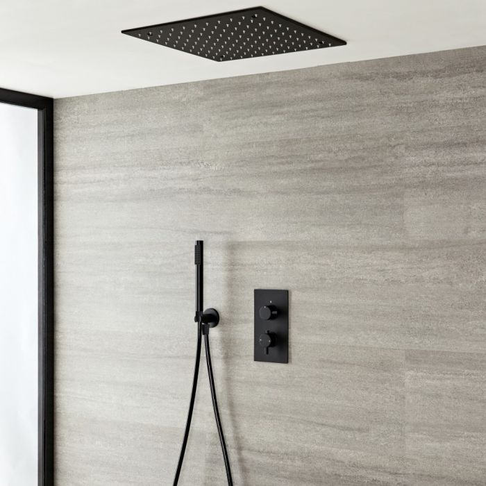 Milano Nero - Black Thermostatic Shower with Diverter, Recessed Shower Head and Hand Shower (2 Outlet)