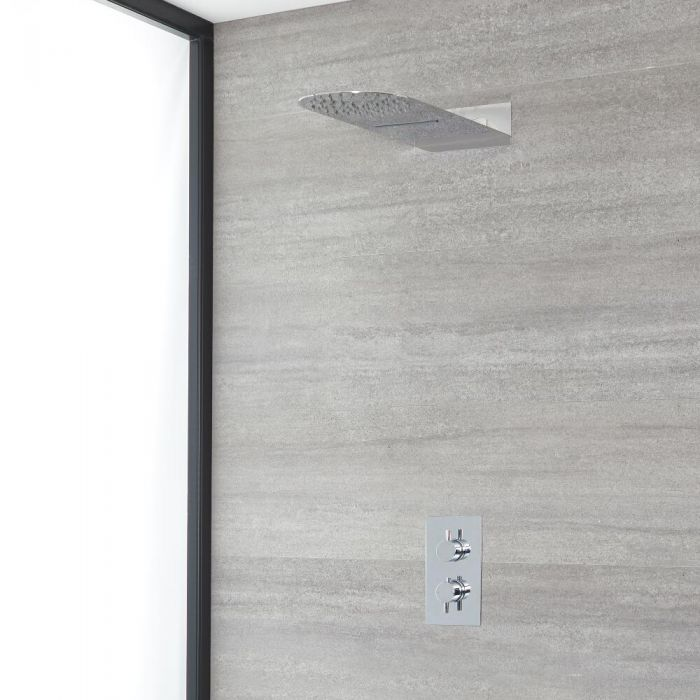 Milano Mirage - Chrome Thermostatic Shower with Diverter and Waterblade Shower Head (2 Outlet)