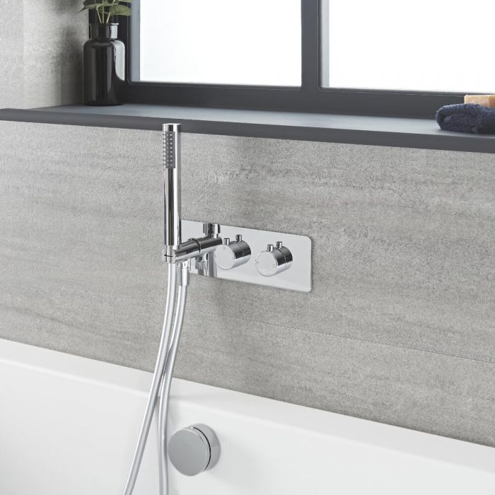 Milano Mirage - Chrome Thermostatic Shower with Diverter, Overflow Bath Filler and Hand Shower (2 Outlet)