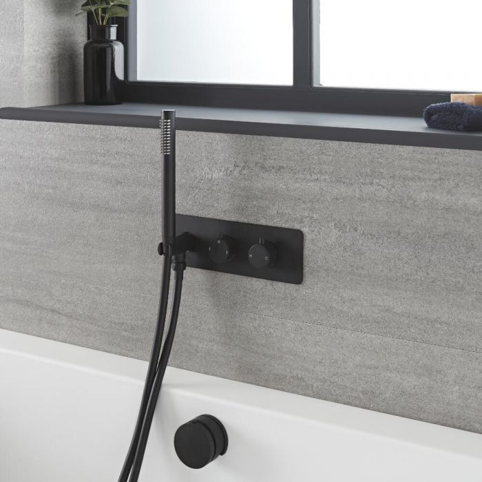 Milano Nero - Black Thermostatic Shower with Diverter, Overflow Bath Filler and Hand Shower (2 Outlet)