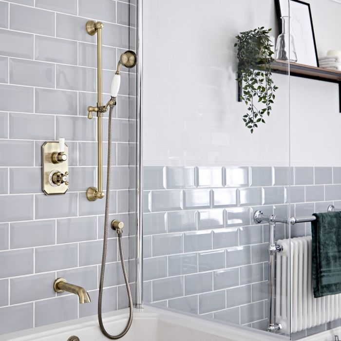 Milano Elizabeth - Brushed Gold Traditional Thermostatic Shower with Diverter, Riser Rail and Bath Spout (2 Outlet)