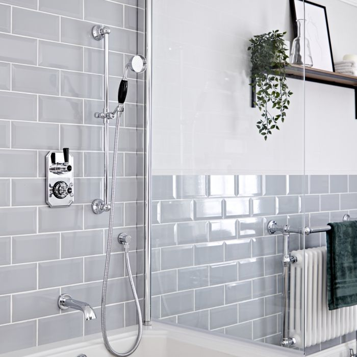 Milano Elizabeth - Chrome and Black Traditional Thermostatic Shower with Diverter, Riser Rail and Bath Spout (2 Outlet)