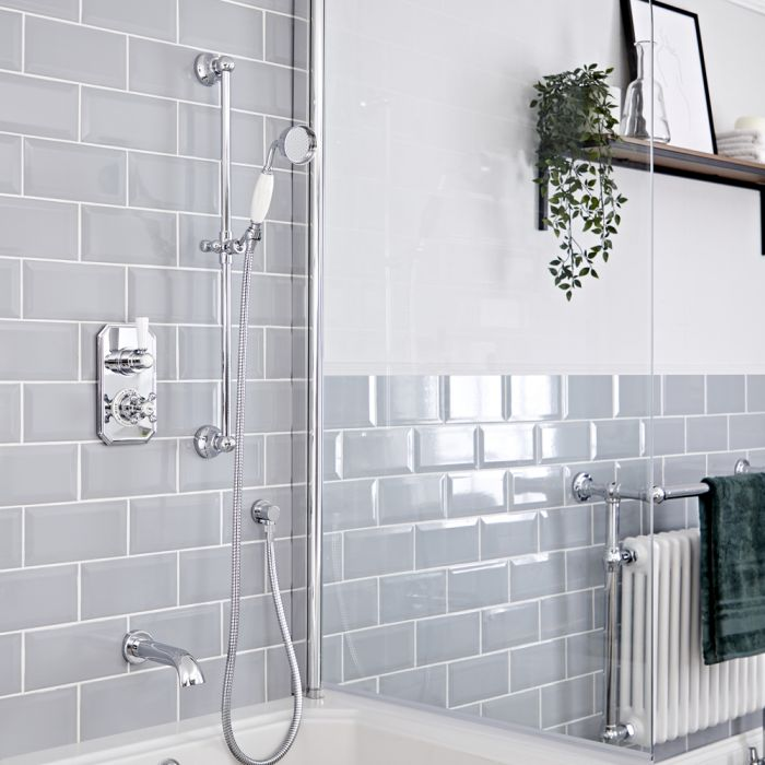 Milano Elizabeth - Chrome and White Traditional Thermostatic Shower with Diverter, Riser Rail and Bath Spout (2 Outlet)