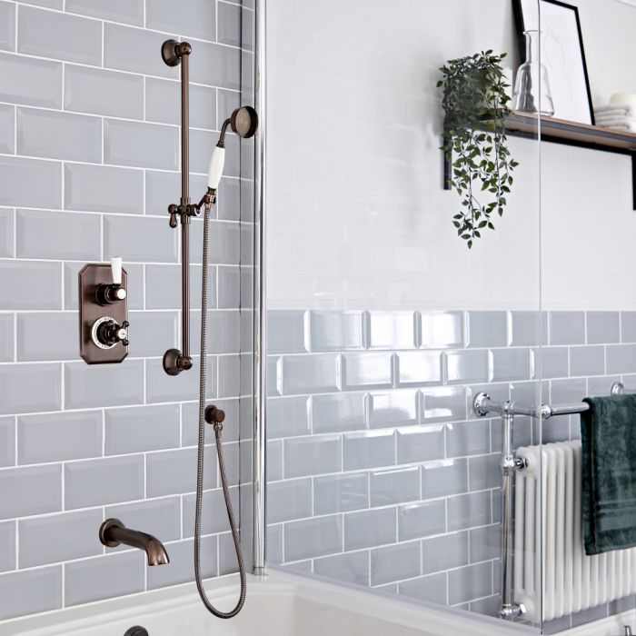 Milano Elizabeth - Oil Rubbed Bronze Traditional Thermostatic Shower with Diverter, Riser Rail and Bath Spout (2 Outlet)