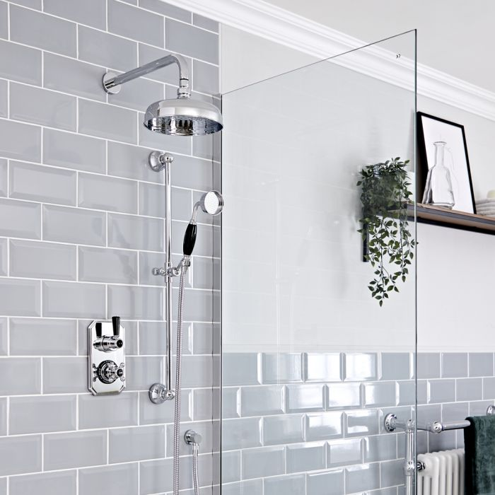 Milano Elizabeth - Chrome and Black Traditional Thermostatic Shower with Diverter, Shower Head, Hand Shower and Riser Rail (2 Outlet)