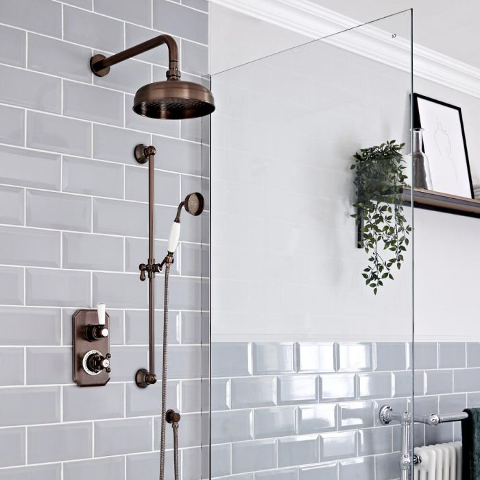 Milano Elizabeth - Oil Rubbed Bronze Traditional Thermostatic Shower with Diverter, Shower Head, Hand Shower and Riser Rail (2 Outlet)