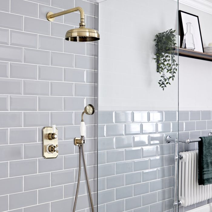 Milano Elizabeth - Brushed Gold Traditional Thermostatic Shower with Diverter, Hand Shower and Shower Head (2 Outlet)