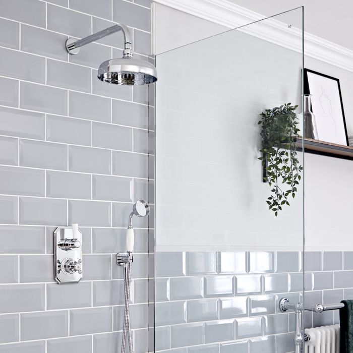 Milano Elizabeth - Chrome and White Traditional Thermostatic Shower with Diverter, Hand Shower and Shower Head (2 Outlet)