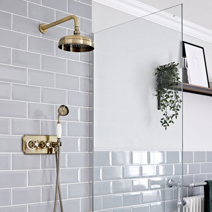 Milano Elizabeth - Brushed Gold Traditional Thermostatic Shower with Diverter, Shower Head and Hand Shower (2 Outlet)