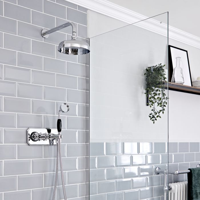Milano Elizabeth - Chrome and Black Traditional Thermostatic Shower with Diverter, Shower Head and Hand Shower (2 Outlet)