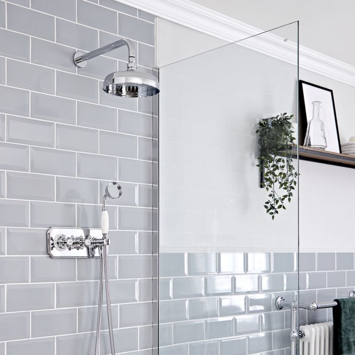 Milano Elizabeth - Chrome and White Traditional Thermostatic Shower with Diverter, Shower Head and Hand Shower (2 Outlet)