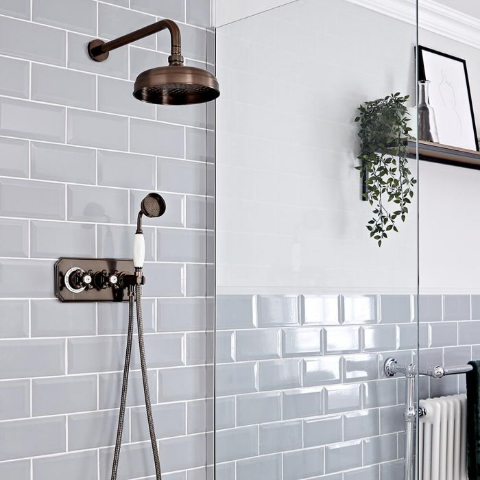 Milano Elizabeth - Oil Rubbed Bronze Traditional Thermostatic Shower with Diverter, Shower Head and Hand Shower (2 Outlet)