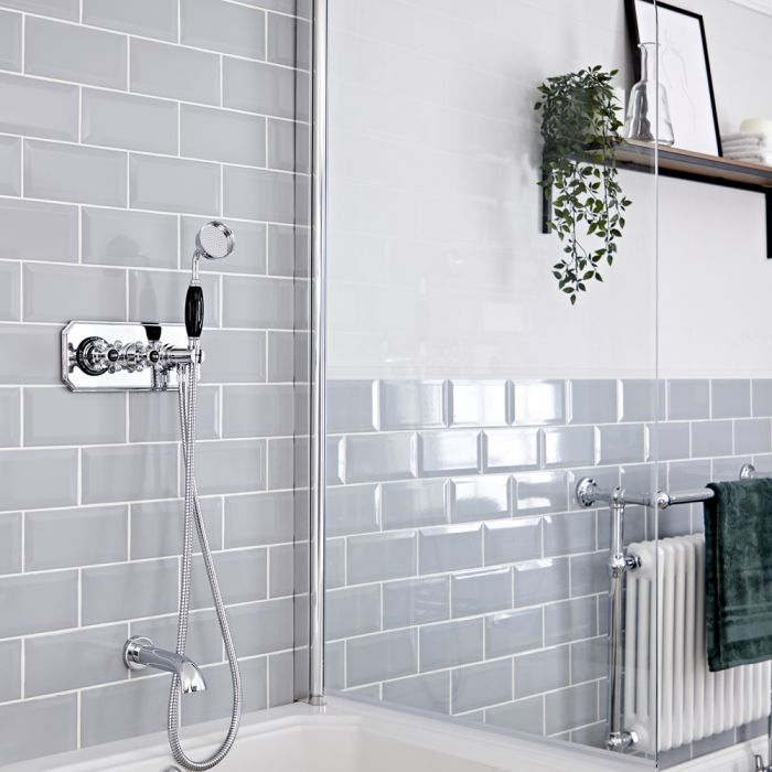 Milano Elizabeth - Chrome and Black Traditional Thermostatic Shower with Diverter, Hand Shower and Bath Spout (2 Outlet)