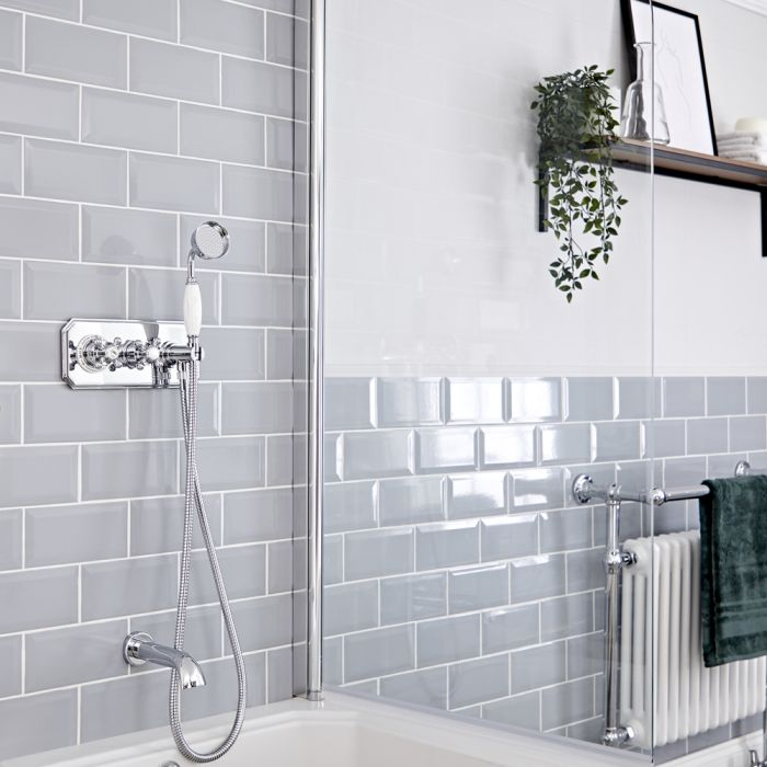 Milano Elizabeth - Chrome and White Traditional Thermostatic Shower with Diverter, Hand Shower and Bath Spout (2 Outlet)