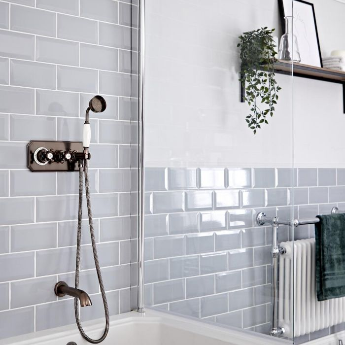 Milano Elizabeth - Oil Rubbed Bronze Traditional Thermostatic Shower with Diverter, Hand Shower and Bath Spout (2 Outlet)