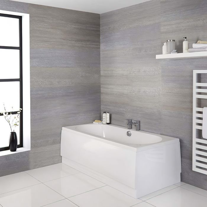Milano Overton - White Modern Standard Double Ended Bath - Choice of Sizes