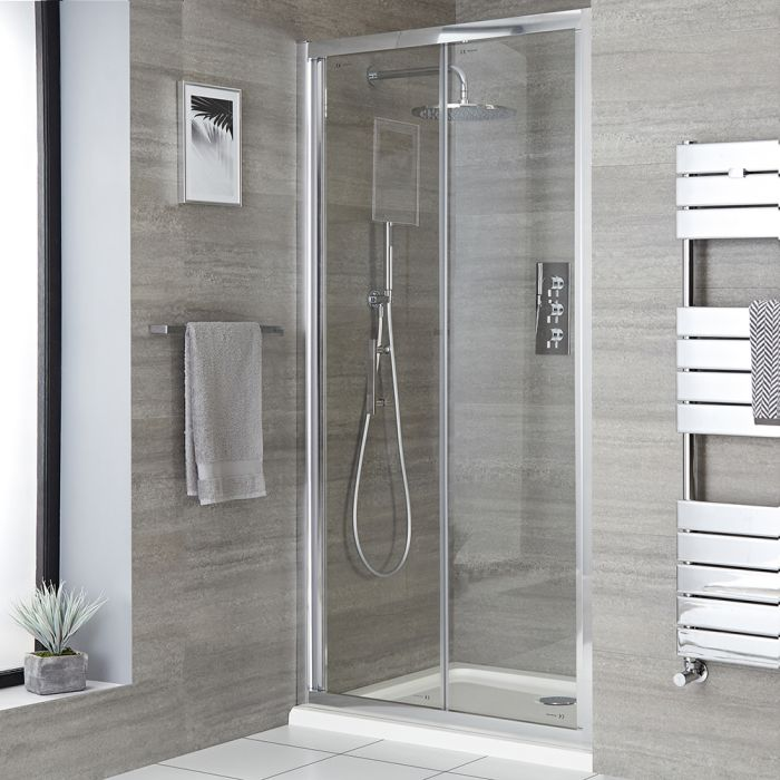 Milano Portland - Chrome Bi-Fold Shower Door - Choice of Sizes and Side Panel