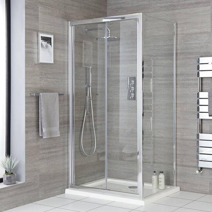 Milano Portland - Chrome Bi-Fold Shower Door - Choice of Sizes and Side Panel