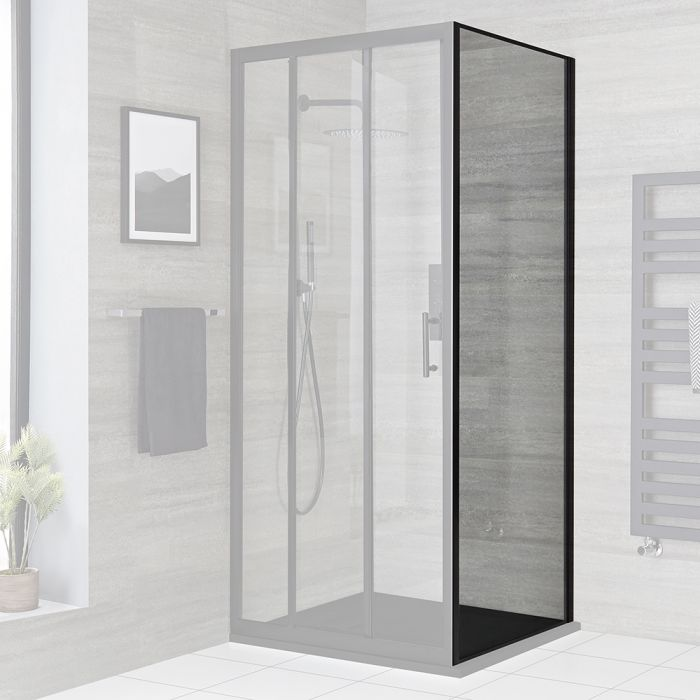 Milano Nero - Black Shower Side Panel - Choice of Sizes
