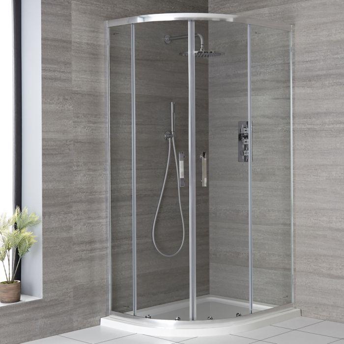 Milano Portland - Chrome Offset Quadrant Shower Enclosure - Choice of Sizes