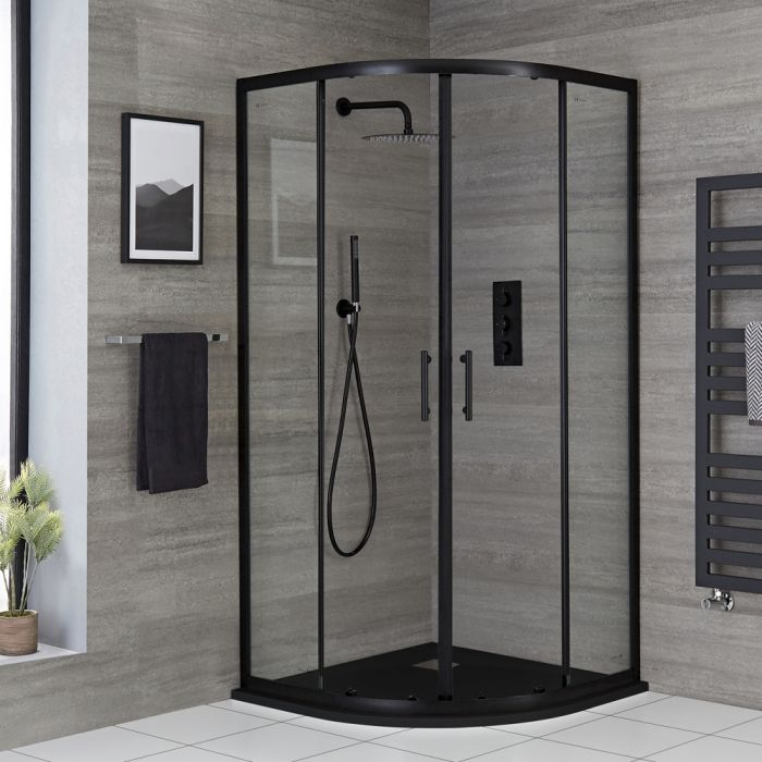Milano Nero - Black Quadrant Shower Enclosure - Choice of Sizes