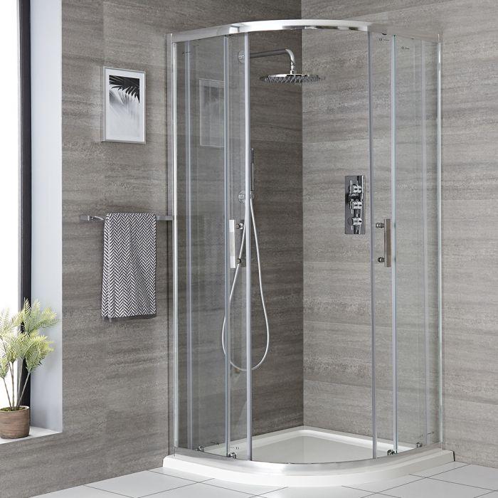 Milano Portland - Chrome Quadrant Shower Enclosure - Choice of Sizes