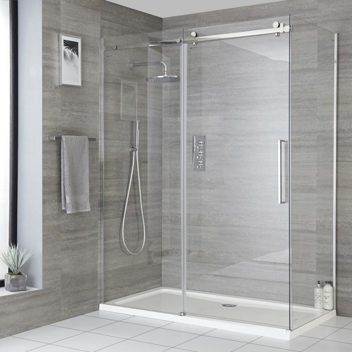 Milano Portland - Frameless Sliding Door Shower Enclosure - Choice of Sizes and Side Panel