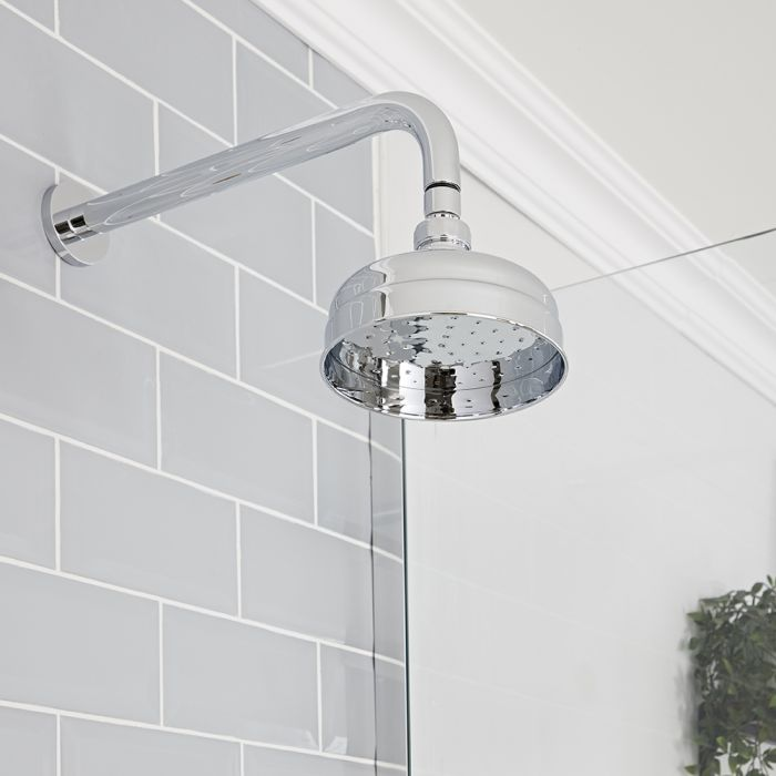 Milano Elizabeth - Chrome 150mm Traditional Apron Shower Head and Wall Arm