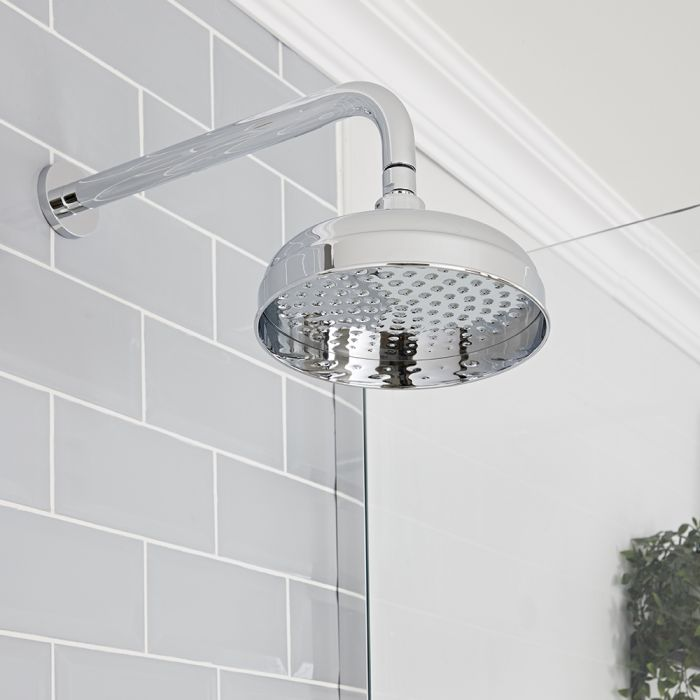 Milano Elizabeth - Chrome 200mm Traditional Apron Shower Head and Wall Arm