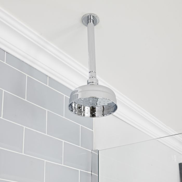 Milano Elizabeth - Chrome 150mm Traditional Apron Shower Head and Ceiling Arm