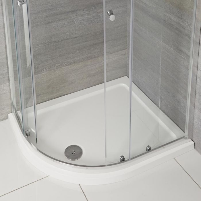 Milano Lithic - Left Handed Low Profile Offset Quadrant Shower Tray - 900mm x 760mm