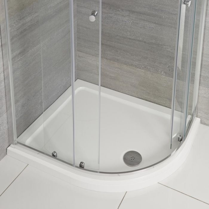 Milano Lithic - Right Handed Low Profile Offset Quadrant Shower Tray - 900mm x 800mm