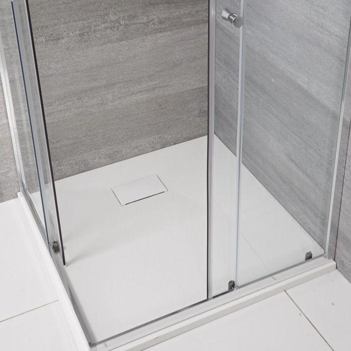 Milano Rasa - Matt White Slate Effect Square Shower Tray - 900mm