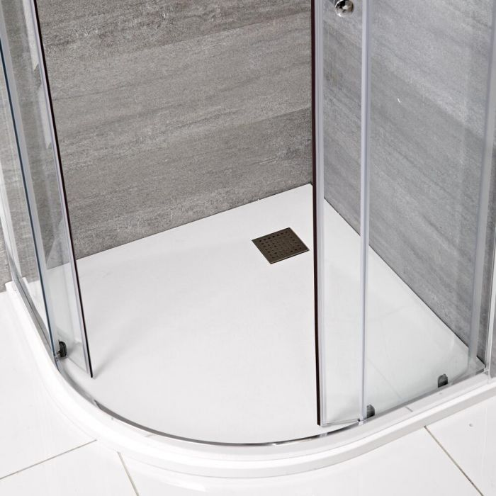 Milano Rasa - Matt White Slate Effect Quadrant Shower Tray - 900mm