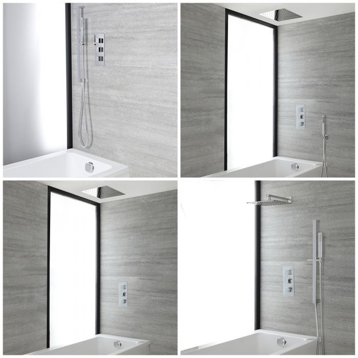 Milano Arvo - Chrome Thermostatic Shower Bath System - Choice of Outlets
