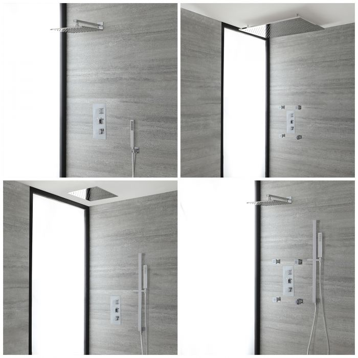Milano Arvo - Chrome Thermostatic Shower System - Choice of Outlets