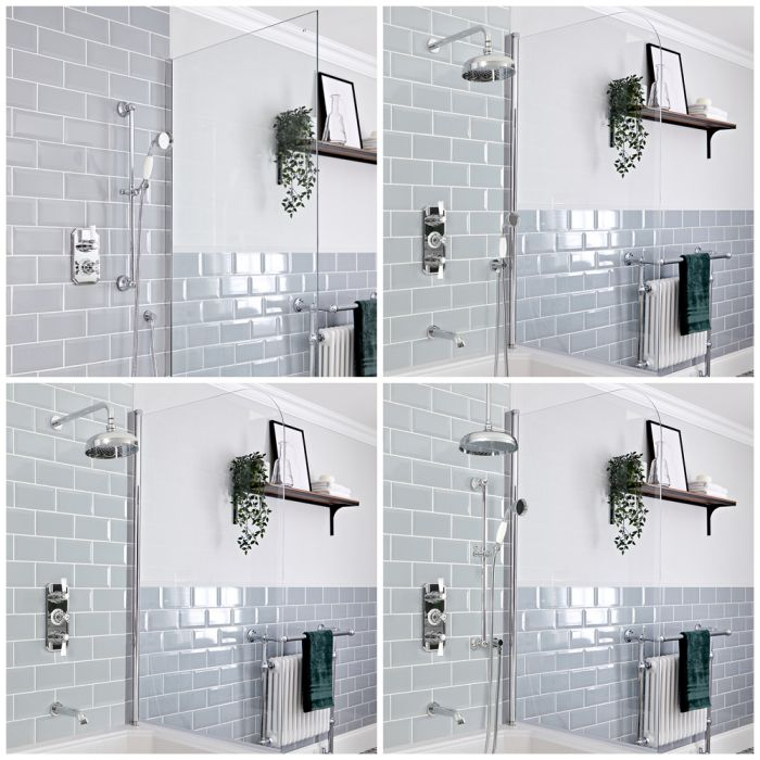 Milano Elizabeth - Chrome and White Traditional Thermostatic Shower Bath System - Choice of Outlets