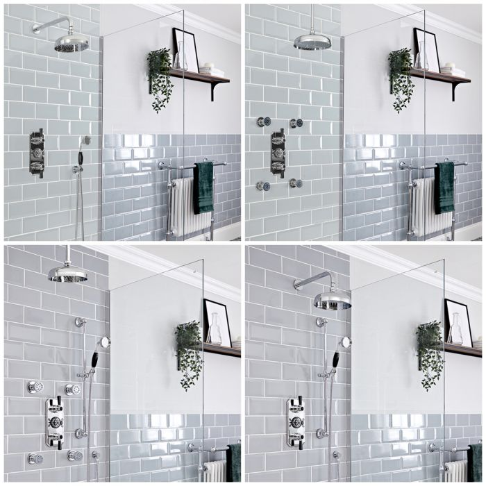 Milano Elizabeth - Chrome and Black Traditional Thermostatic Shower System - Choice of Outlets