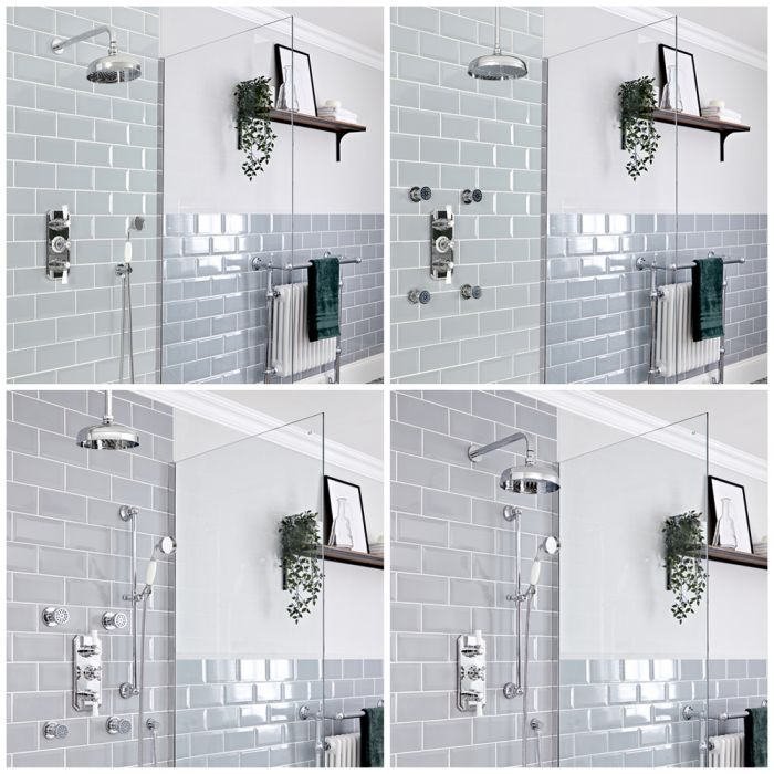 Milano Elizabeth - Chrome and White Traditional Thermostatic Shower System - Choice of Outlets