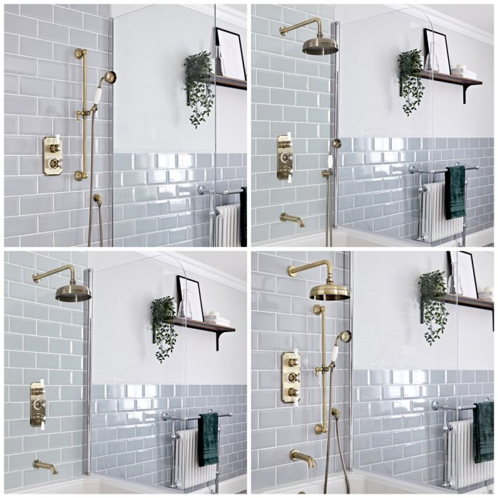 Milano Elizabeth - Brushed Gold Thermostatic Shower Bath System - Choice of Outlets