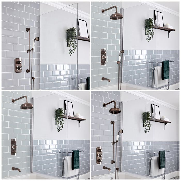 Milano Elizabeth - Oil Rubbed Bronze Thermostatic Shower Bath System - Choice of Outlets